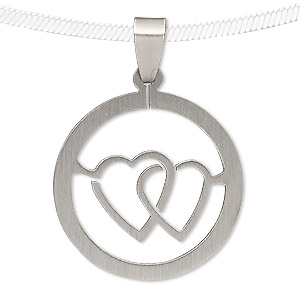 pendant, stainless steel, 35mm round with cutout heart. sold individually.