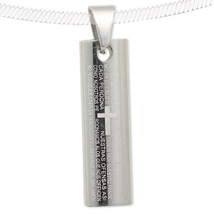 pendant, stainless steel, 35x10mm rectangle with a version of lords prayer in spanish. sold individually.