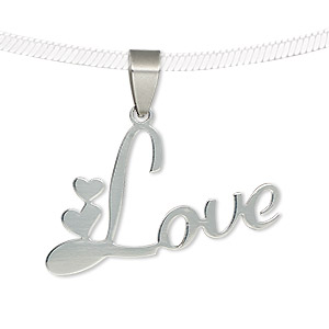 pendant, stainless steel, 35x22mm two-sided matte and shiny love with hearts. sold individually.