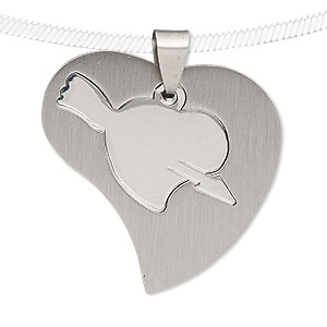 pendant, stainless steel, 35x34mm matte and shiny heart with cutout heart. sold individually.