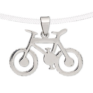 pendant, stainless steel, 37x24mm bike. sold individually.