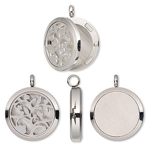 pendant, stainless steel, 37x30mm hinged round locket with single-sided cutout fancy tree and magnetic closure. sold individually.