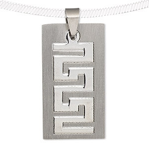 pendant, stainless steel, 37x40mm matte and shiny rectangle with cutout. sold individually.