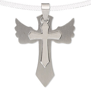 pendant, stainless steel, 41x33mm matte and shiny cross with wings. sold individually.