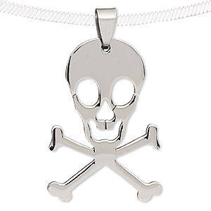 pendant, stainless steel, 48x28mm skull. sold individually.