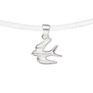 pendant, sterling silver, 15.5x11.5mm single-sided bird. sold individually.