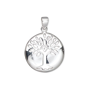 pendant, sterling silver, 19mm single-sided flat round with tree of life cutout. sold individually.