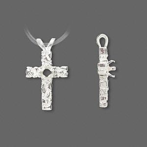 pendant, sterling silver, 21.5x12mm cross with 4mm 4-prong round setting. sold individually.