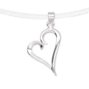 pendant, sterling silver, 25x16mm fancy open heart. sold individually.