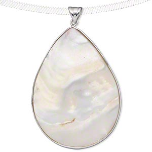 pendant, sterling silver and blister pearl shell (natural), 52x32mm-56x39mm teardrop. sold individually.