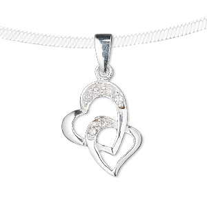 pendant, sterling silver and cubic zirconia, clear, 16x14mm double heart. sold individually.