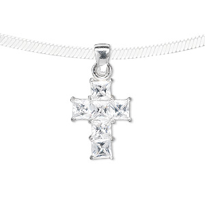 pendant, sterling silver and cubic zirconia, clear, 18x13mm cross. sold individually.