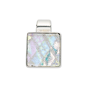 pendant, sterling silver and dichroic glass, clear and multicolored, 24x16mm square. sold individually.