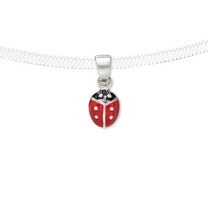 pendant, sterling silver and enamel, red and black, 8x6.5mm single-sided ladybug. sold individually.