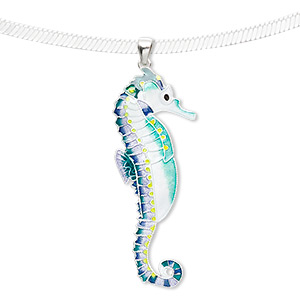 pendant, sterling silver and enamel, white / green / yellow, 60x23mm seahorse. sold individually.