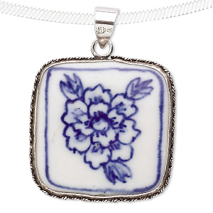 pendant, sterling silver and porcelain, blue and white, 40x29mm square. sold individually.