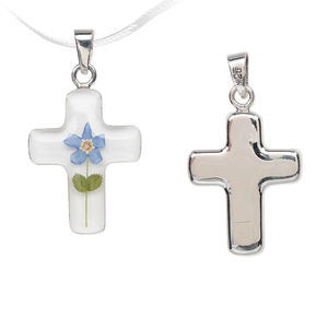 pendant, sterling silver and resin, multicolored, 23x18mm cross with forget-me-knot flower. sold individually.