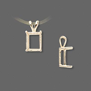 pendant, sure-set™, 14kt gold, 10x8mm with 4-prong emerald-cut basket setting. sold individually.