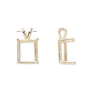 pendant, sure-set™, 14kt gold, 12x10mm with 4-prong emerald-cut setting. sold individually.