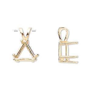 pendant, sure-set™, 14kt gold, 12x12x12mm with 6-prong triangle setting. sold individually.