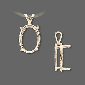 pendant, sure-set™, 14kt gold, 16x12mm with 4-prong oval setting. sold individually.