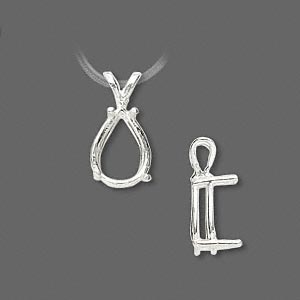 pendant, sure-set™, sterling silver, 12x8mm with 4-prong pear basket setting. sold individually.