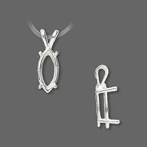 pendant, sure-set™, sterling silver, 14x7mm 4-prong marquise basket setting. sold individually.
