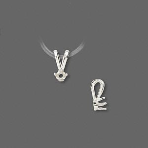 pendant, sure-set™, sterling silver, 3mm 4-prong round setting. sold individually.