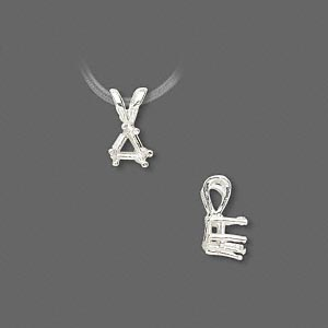 pendant, sure-set™, sterling silver, 5mm 6-prong triangle basket setting. sold individually.