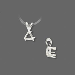 pendant, sure-set™, sterling silver, 6mm 6-prong triangle basket setting. sold individually.
