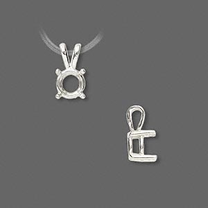 pendant, sure-set™, sterling silver, 7mm 4-prong round basket setting. sold individually.