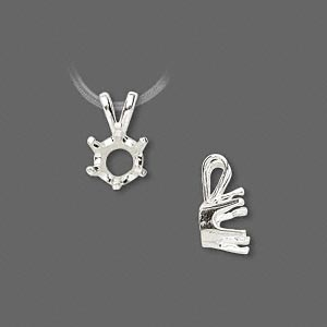 pendant, sure-set™, sterling silver, 7mm 6-prong round setting. sold individually.