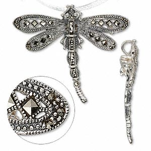 pendant/brooch, sterling silver and marcasite, 55x50mm dragonfly. sold individually.