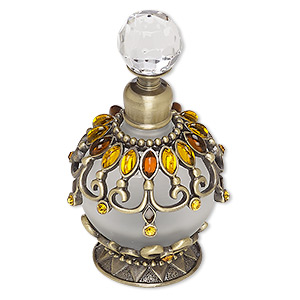 perfume bottle, glass / frosted glass / glass rhinestone / acrylic / brass / antique brass-plated pewter (zinc-based alloy), topaz brown and clear, 3-1/2 x 2 inches. sold individually.