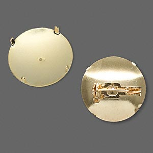 pin back, gold-plated steel, 19mm round. sold per pkg of 10.