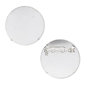 pin back, silver-plated steel, 26mm round. sold per pkg of 10.