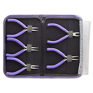 pliers set, side-cutter / round-nose / flat-nose / chain-nose / curved chain-nose, stainless steel / pvc foam / vinyl, purple, 5-1/4 inches with 10x6x1-1/4 inch case. sold per 5-piece set.