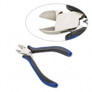 pliers, side-cutter, plastic and nickel-plated steel, blue and black, 5 inches. sold individually.