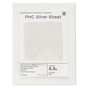 pmc+™ precious metal clay, silver, 60x60mm sheet. sold per 5-gram sheet.