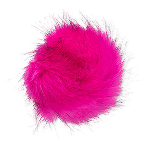 pom-pom, faux fur / nylon / polyester, fuchsia and black, 5-inch round with elastic loop. sold individually.