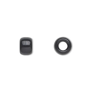 pony bead, plastic, opaque black, 9x7mm. sold per pkg of 900.