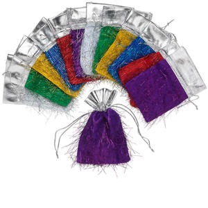 pouch, acrylic, assorted metallic colors, 5-1/2 x 4 inches with fringe and drawstring. sold per pkg of 12.