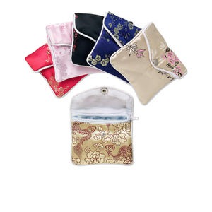 pouch, brocade and rayon, mixed colors, 3-1/2 x 3-inch with button and inside zipper closure.  sold per pkg of 12.