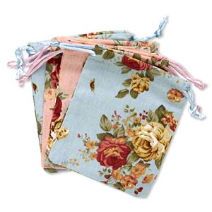 pouch, cotton and satin, blue / pink / multicolored, 4-3/4 x 3-3/4 inch rectangle with leaf and rose pattern with drawstring. sold per pkg of 4.