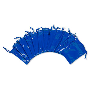 pouch, faux leather / nylon / cotton, royal blue, 3-3/4 x 2-3/4 to 4x3-inch rectangle with drawstring. sold per pkg of 12.