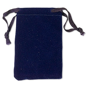 pouch, flocked velveteen, blue, 3x2 inches with drawstring. sold per pkg of 12.