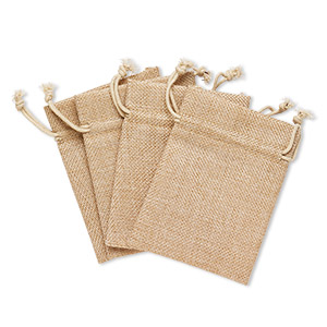 pouch, linen, natural, 4-3/4 x 3-1/2 inches with drawstring closure. sold per pkg of 4.