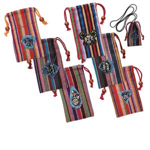 pouch mix, cotton, multicolored, 5x2-1/2 inch with design. sold per pkg of 6.