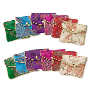 pouch mix, rayon, mixed colors, 2-1/2 x 2-inch brocade. sold per pkg of 12.