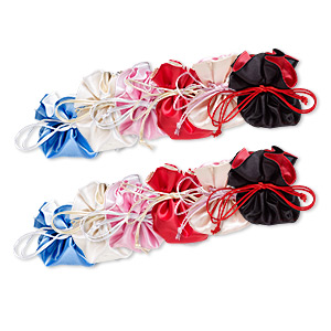 pouch mix, rayon, mixed colors, 3-1/2 x 3 inches with drawstring. sold per pkg of 12.